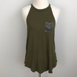 Pure Barre high neck tank size s olive green